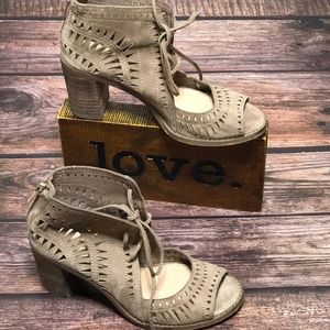 Vince Camuto Suede Perforated Peep Toe Ankle Boots